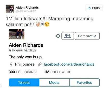 One of the Kapuso Network's Prime Leading Men Alden Richards reaches 1 million followers on Twitter. (Screenshot from Alden Richards' Twitter account @aldenrichards02)