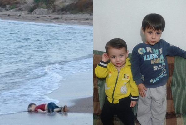 Three-year-old Aylan (left)  and five-year-old Ghalib (right) who drowned during the crossing of refugees. (Photo from Kurdi's Facebook account)