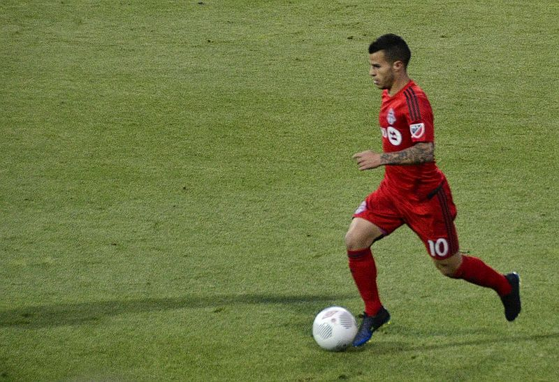 Giovinco playing for Toronto FC during the 2015 MLS season. (Photo from Wikipedia/HighlanderICT)