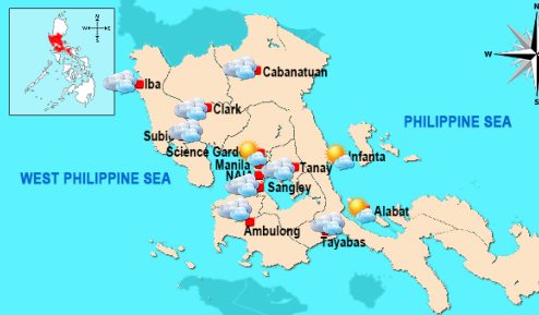National Capital Region (NCR) weather map on Friday (Photo from PAGASA)