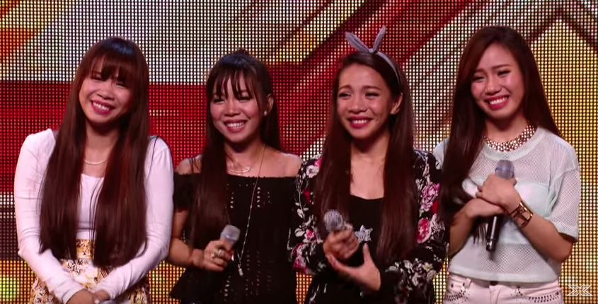 "Filipino singing sisters ""Fourth Power"" wow audience and judges at X Factor UK (screenshot from X Factor video)"