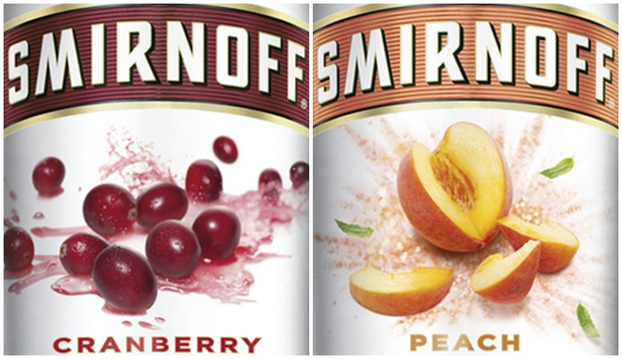 Smirnoff cranberry and peach flavors (Photos from Smirnoff's website)