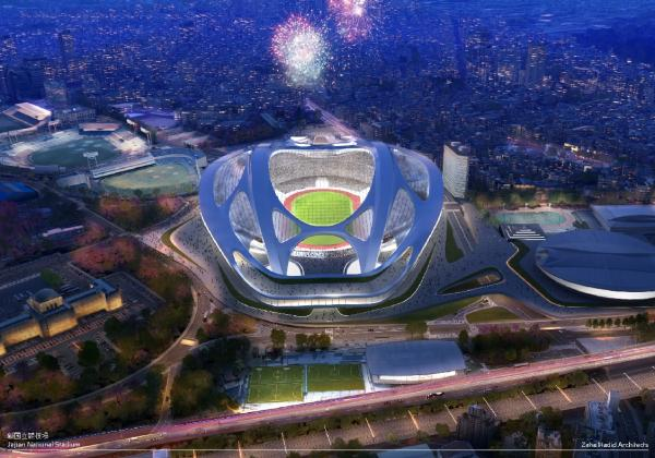 Japan's national stadium design that critics likened to a bicycle helmet (Photo from Tokyo 2020)
