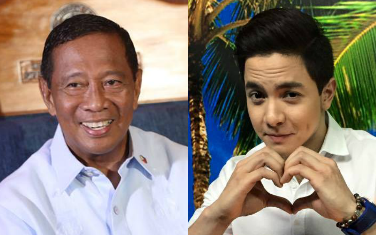 VP Binay (left) wants Alden Richards to portray him if a Binay biopic happens (Facebook photos)
