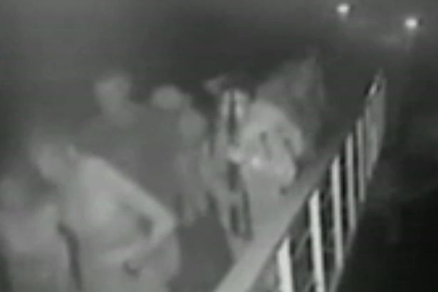 Screenshot of CCTV footage of the abduction of three foreigners and a Filipino from a resort in Samal Island, Davao