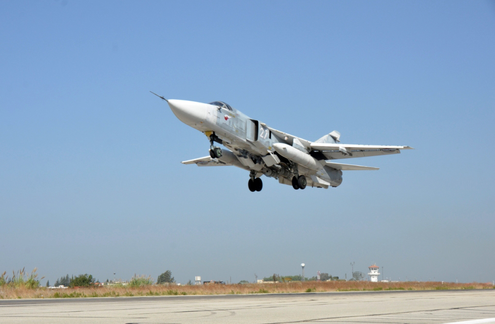 Combat flight of the aircraft of the Russian air group in the Syrian Arab Republic from the Hmeymim airfield (Photo from the Ministry of Defence of the Russian Federation)