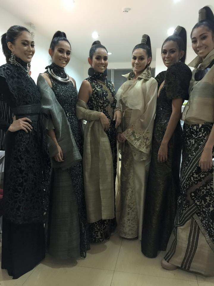 Models wearing Jaki Peñalosa's designs getting ready for their London fashion show (Facebook)