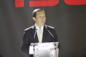 Isuzu Philippines Corporation President Hajime Koso delivers his welcome message in front of the press, advertisers, and dealers in Isuzu's 3.0-liter variants launch at Blue Leaf Filipinas (Photo courtesy of Mavelle P. Durian)
