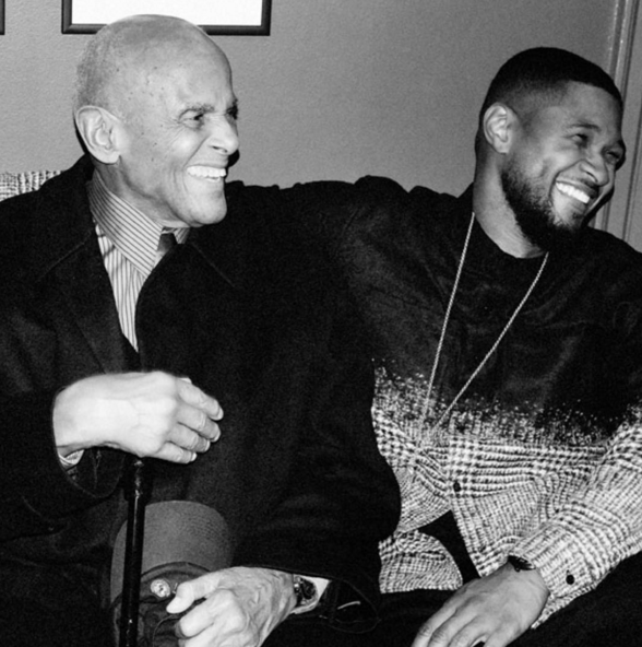 Usher and Harry Belafonte (Photo from Usher's official Instagram account)