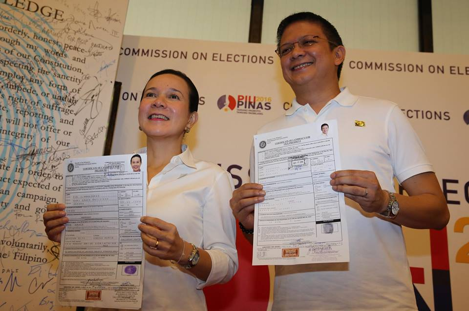 FRIENDS & RUNNINGMATES: Senators Grace Poe for president and Francis 'Chiz' Escudero for vice president (Facebook)