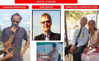 Photos of kidnap victims John Ridsdel, Robert Hall, Kjartan Sekkingstad and Marites Flor. (Police handout)