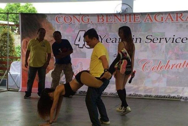 "Performing group 'Playgirls' in a ""lewd"" dance number during LP-member Cong. Benjamin Agarao's party in Laguna on Oct 1, 2015 (screenshot from INQUIRER footage)"
