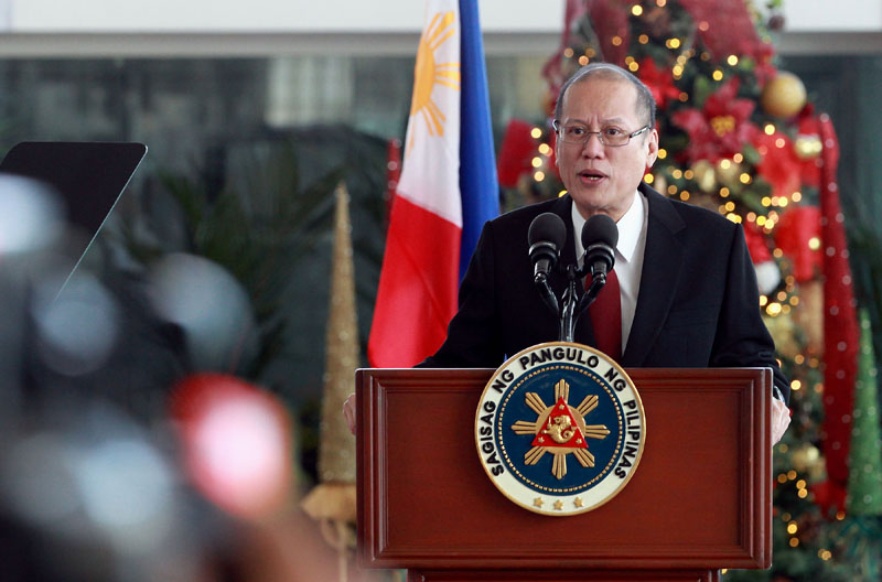 President Benigno S. Aquino III delivers his departure statement during the send-off ceremony at the Departure Area of the Ninoy Aquino International Airport Terminal II in Pasay City on Sunday (November 29, 2015) to attend the 21st Conference of Parties (COP 21) for the United Nations Framework Convention on Climate Change (UNFCCC) in France; for the Official Visit to Italy; and the Formal Visit to the Holy See. (Photo by Benhur Arcayan / Malacañang Photo Bureau)