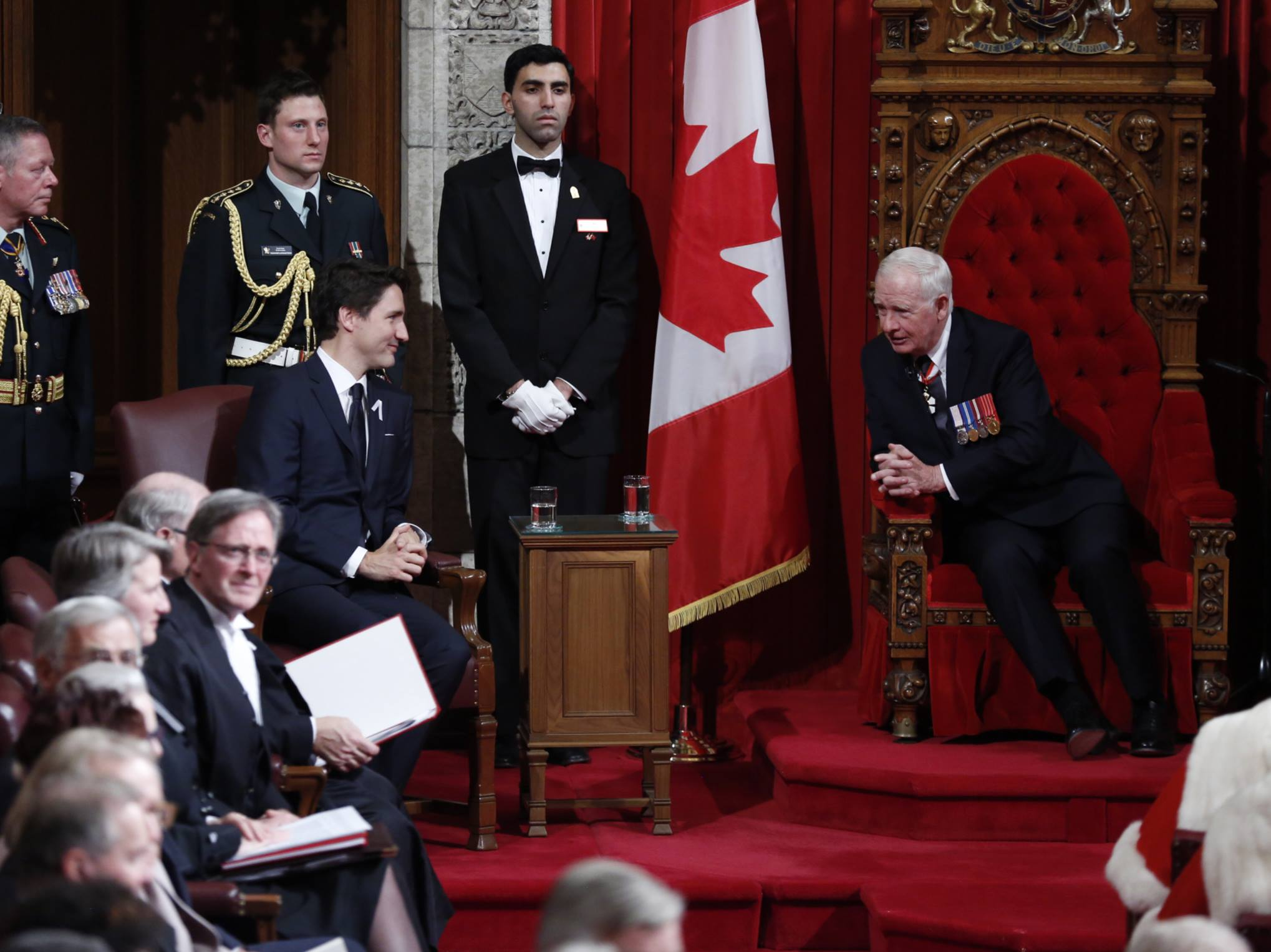 Prime Minister Justin Trudeau and Gov. Gen. David Johnston at the Senate chamber. (Photo from PM Trudeau's official Facebook page)