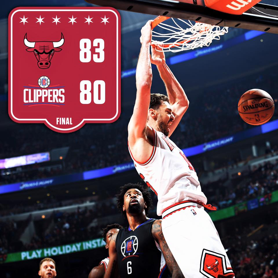 Bulls beat the Los Angeles Clippers 83-80 on Thursday night to snap a three-game losing streak (Photo taken from Chicago Bulls' official Facebook fan page)