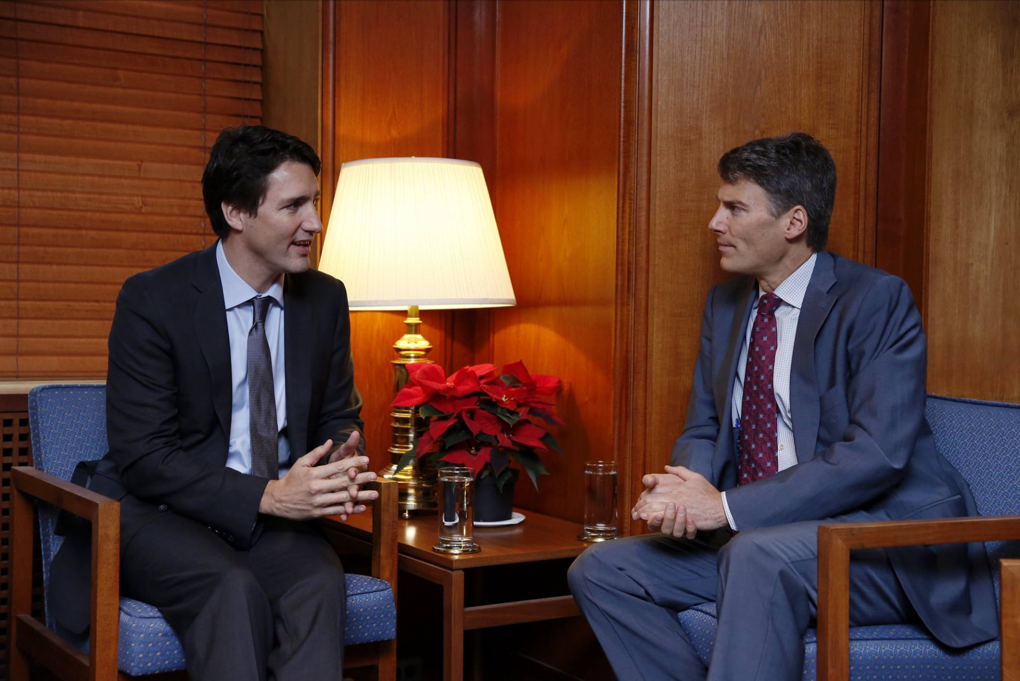 Justin Trudeau meets with Mayor Gregor Robertson in Vancouver (Photo from the official Facebook page of PM Trudeau)