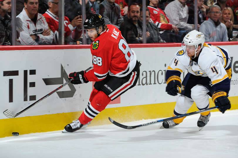 Kane reached 23 games with an empty-net goal with 1:36 left, and the Chicago Blackhawks beat the Nashville Predators 4-1 on Tuesday night (Photo taken from Chicago Blackhawks official Facebook fan page)