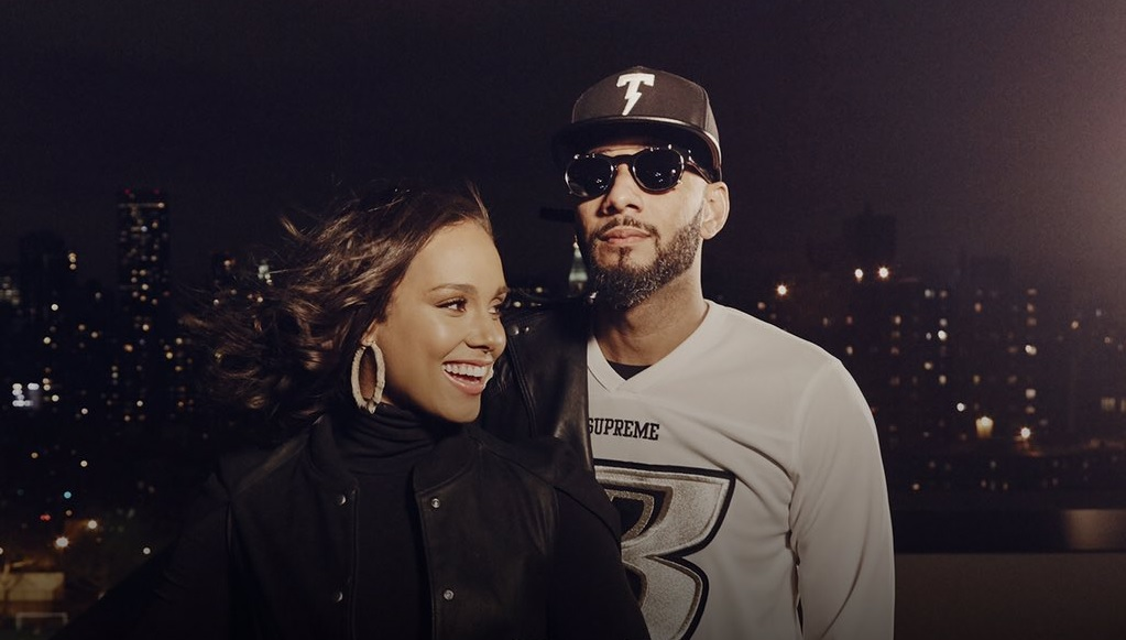 Alicia Kiss and her husband, Swizz Beatz (Photo from Alicia Keys' official Twitter account)