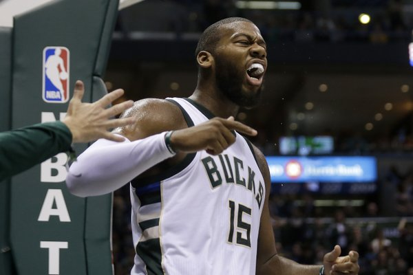 Greg Monroe scored 28 points for the Bucks, who got the all-around effort needed to beat the defending NBA champions. (Photo from the Milwaukee Bucks' official Twitter account)