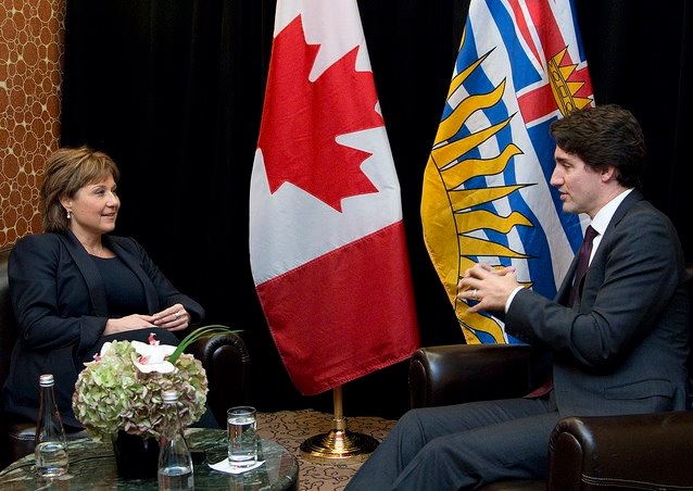 British Columbia Premier Christy Clark with Prime Minister Justin Trudeau (Photo from Clark's official Twitter account)