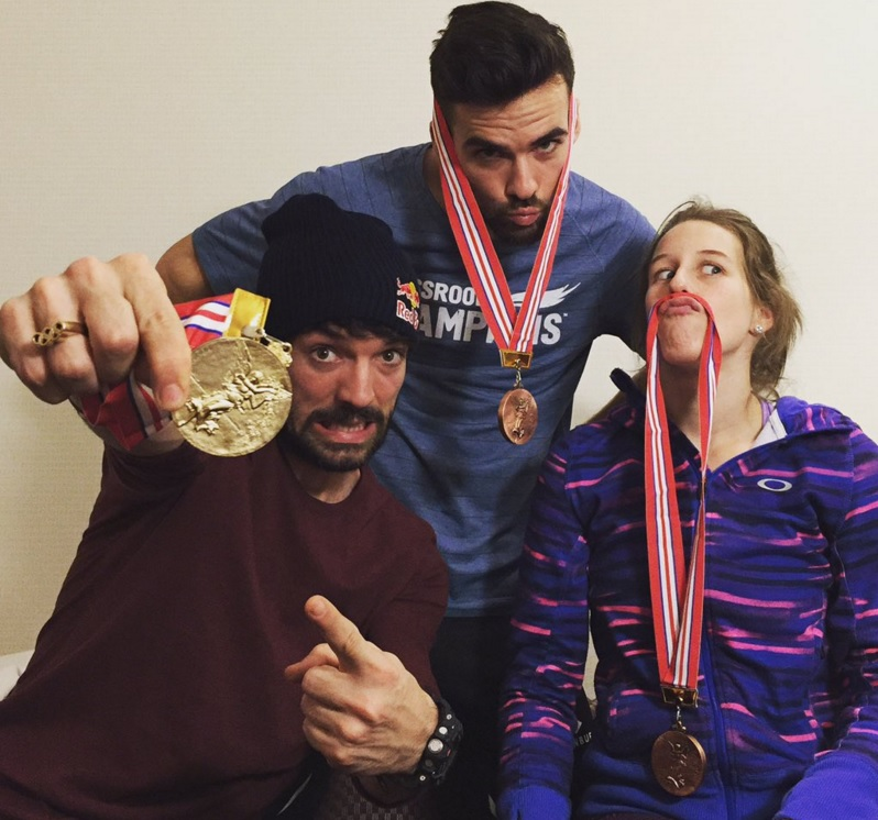 ISU World Cup medalists Charles and Francois Hamelin and Marianne St-Gelais sporting their gold and bronze medals (Photo from the official Twitter page of Charles Hamelin)