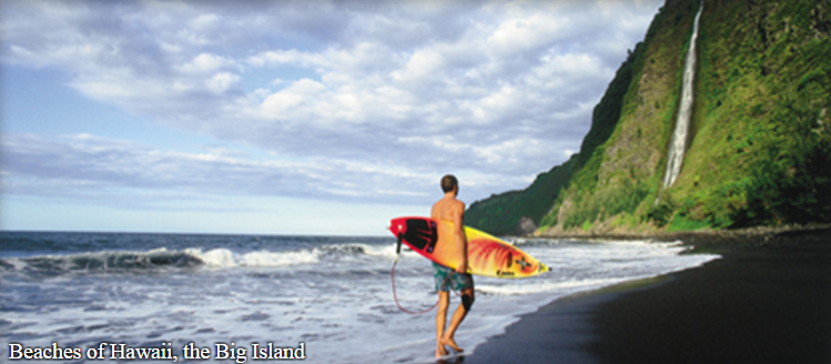 Hawaii Island features picturesque and varied beaches in the islands. Here you'll find not just white sand beaches but black sand and green sand beaches with olivine crystals as well. (Photo from gohawaii.com)