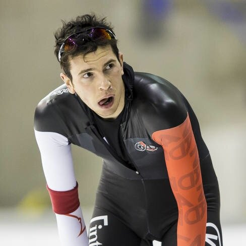 Longtrack speedskater, Jordan Belchos (Photo from Twitter)