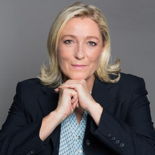 Marine Le Pen, President of the National Front (Photo from Le Pen's official Twitter page)