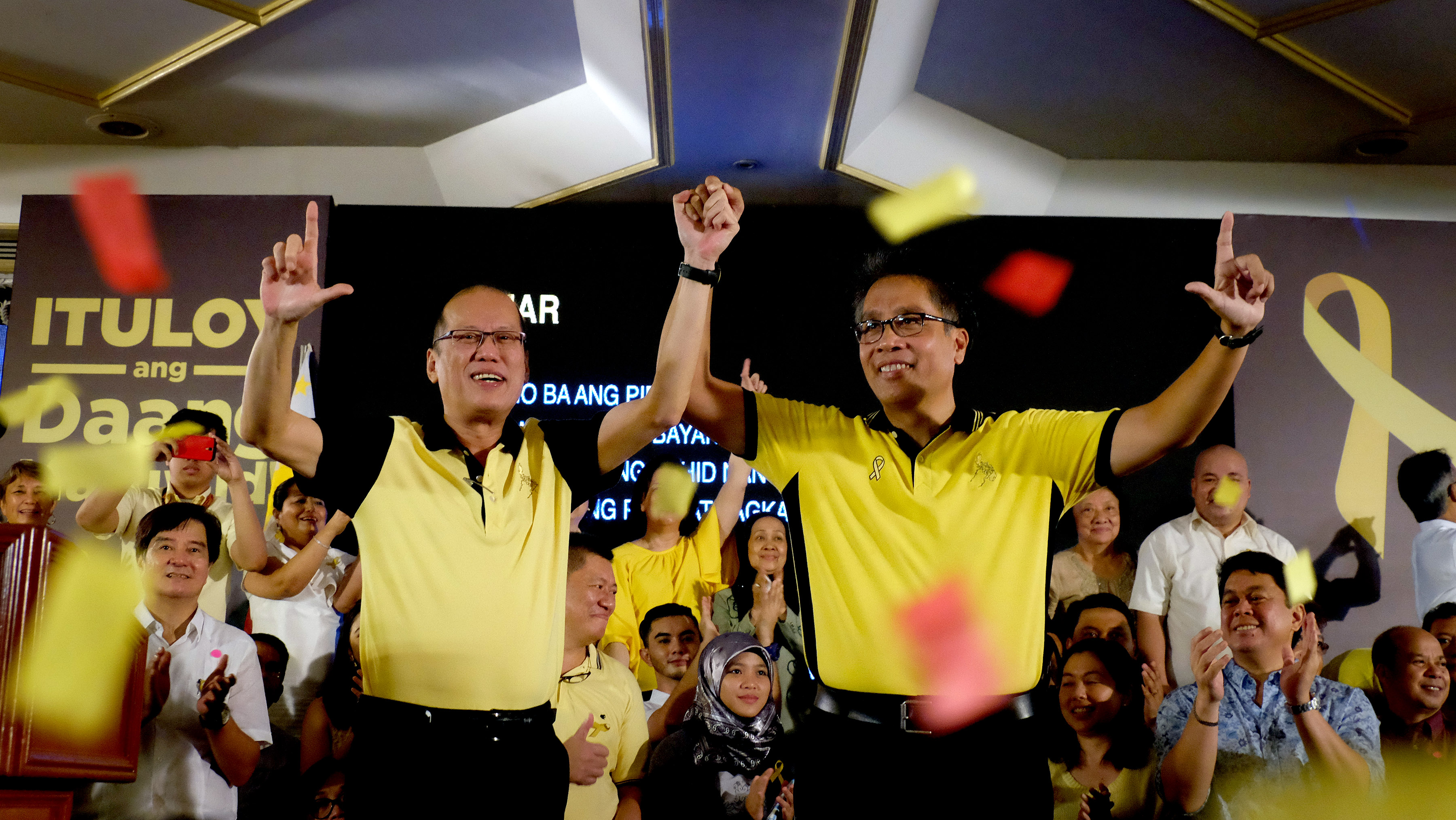 "President Benigno S. Aquino III formally endorses Interior and Local Government Secretary Manuel Roxas II as the standard-bearer of the ruling Liberal Party (LP) in the 2016 Presidential elections during the ""A Gathering of Friends"" at the Cory C. Aquino Kalayaan Hall of the Club Filipino in Greenhills, San Juan City on Friday (July 31, 2015). (Photo by Gil Nartea/ Malacañang Photo Bureau)"