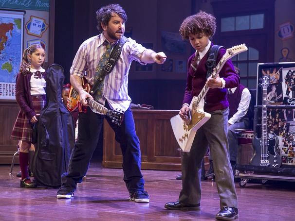 Evie Dolas as Katie, Alex Brightman as Dewey Finn and Brandon Niederauer as Zack in School of Rock. (Photo and description from Broadway.com website)