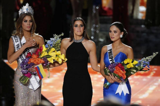 Miss Universe 2015 candidates Ariadna Gutierrez (Colombia) and Pia Alonzo Wurtzbach (Philippines). Steve Harvey mistakenly announced the crown to Ariadna  but it was Pia who actually won the crown (Photo taken from official Twitter account of  newsobserver.com)