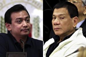 Senator Antonio Trillanes III and Davao City Mayor and 2016 presidential candidate Rodrigo Duterte (Photo taken from internet)