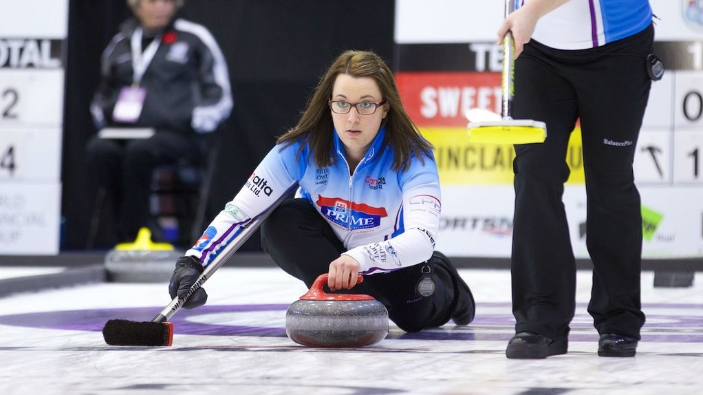 Curler Val Sweeting (Photo from the official Twitter account of Grand Slam Curling)