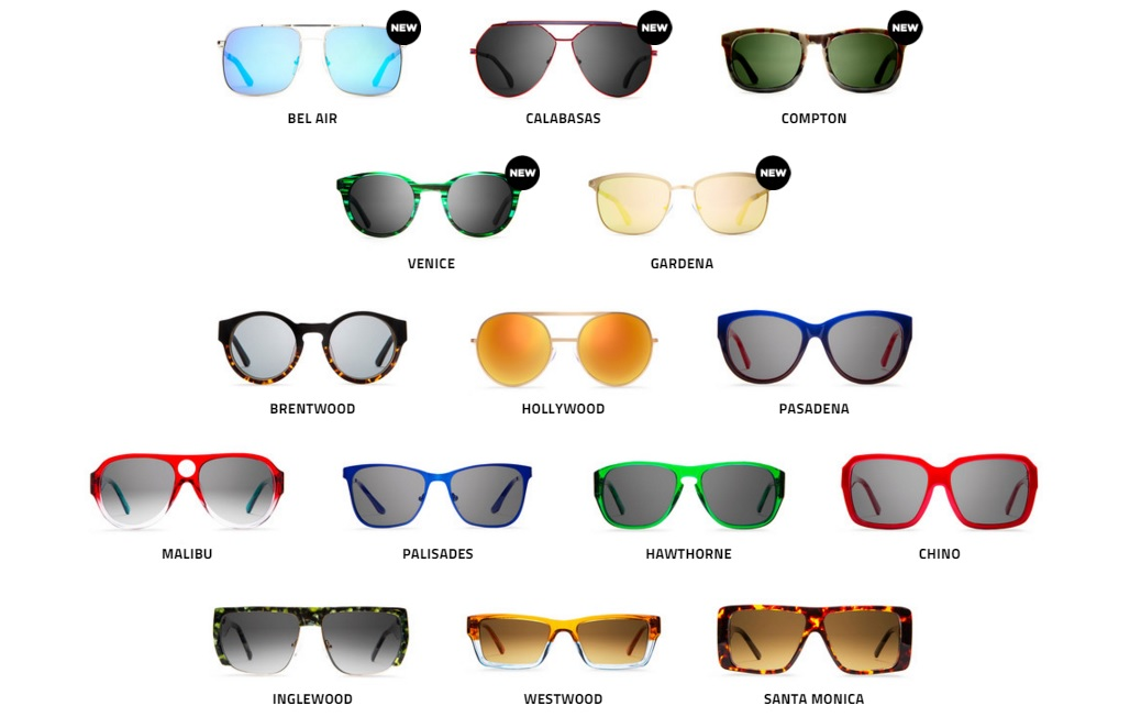 California collection of Westbrook frames (Screenshot from Westbrook Frames website)