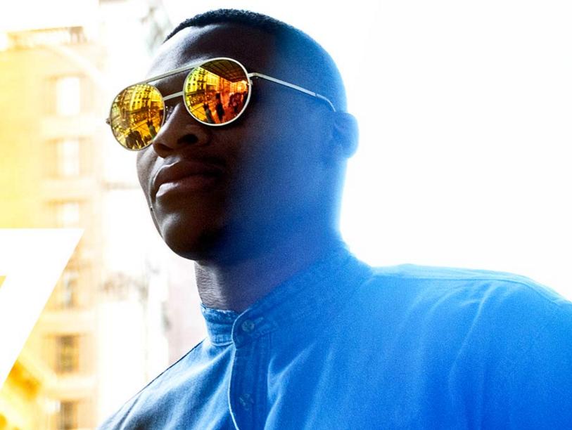 Russell Westbrook, owner of Westbrook Frames, wears one of his sunglasses. (Photo from Westbrook Frames' website)