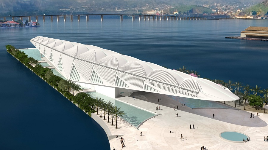 The Museum of Tomorrow in Rio de Janiero in Brazil. (Photo from Santiago Calatrava, LLC / e-architect website)