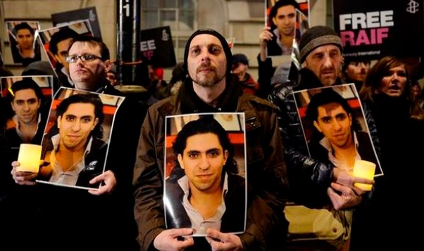 Supporters of Raif Badawi protests the detention of the Saudi blogger (Photo from the official Twitter page of Raif Badawi)