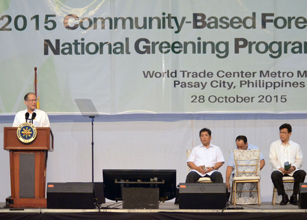 President Aquino cites the contribution of some 1,880 peoples' organizations in various community-based forest management (CBFM) project sites nationwide in protecting and managing the country's forest resources through the National Greening Program (NGP) during the CBFM-NGP Congress.  (Photo from DENR's website)