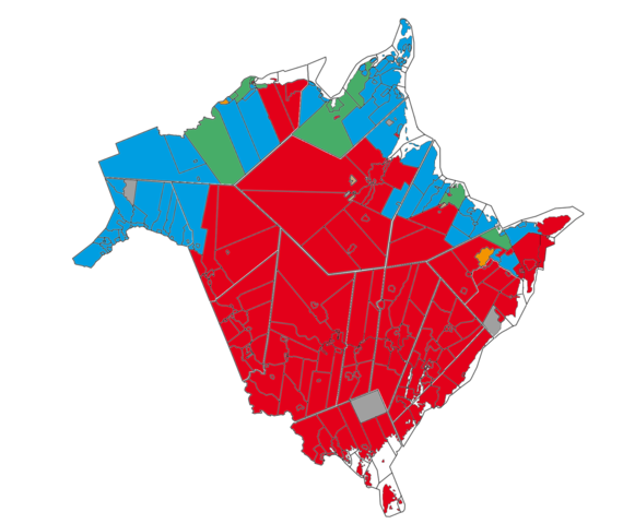 Native language in New Brunswick. Red and orange indicates majority Anglophone areas; blue and green shows majority Francophone areas. (Photo and caption from WIkipedia/Piotron)