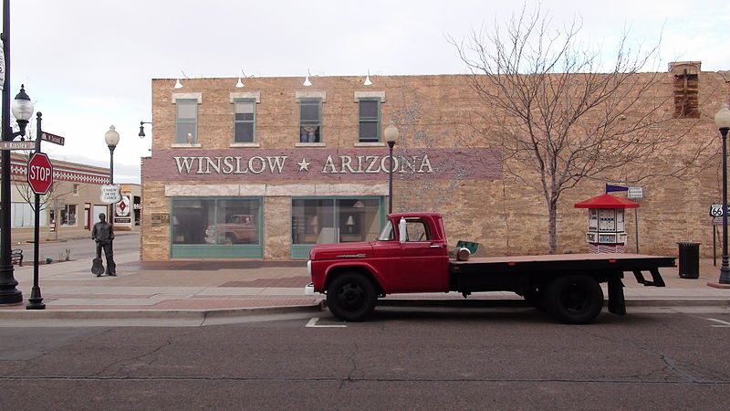 The infamous corner in Winslow, Arizona at 2nd and Kinsley streets. (Wikipedia photo)
