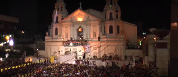 The Black Nazarene returned to Quiapo Church after 20 hours. (Screengrab from the Inquirer.net's video)