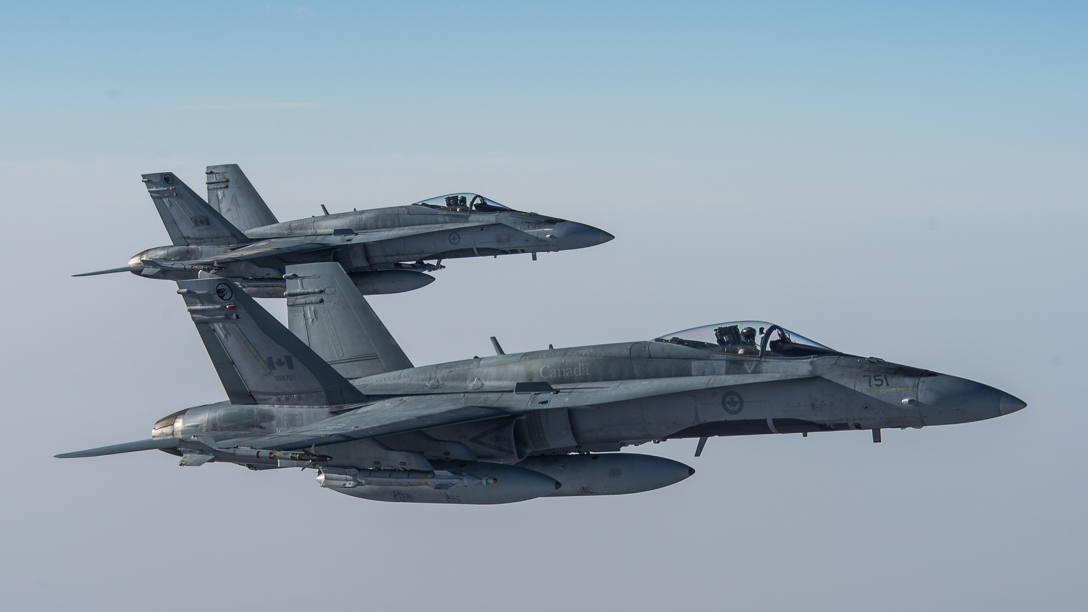 Two CF-18 Hornets  (Photo: Canadian Forces Combat Camera, DND / Royal Canadian Air Force website)