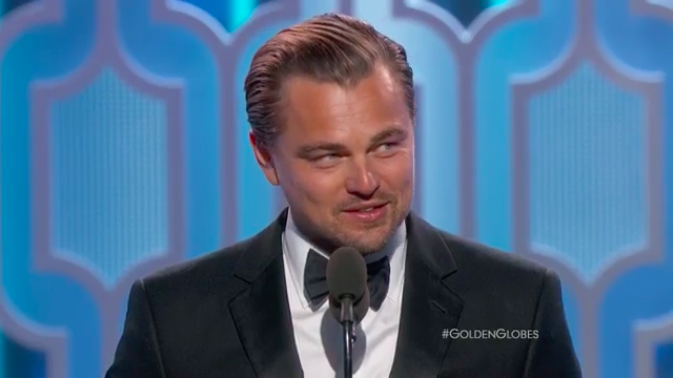 """Leonardo DiCaprio gives his speech after receiving his award as best dramatic actor in his movie """"The Revenant"""" in the Golden Globe Awards (Screenshot from Golden Globe Awards Twitter video)"""