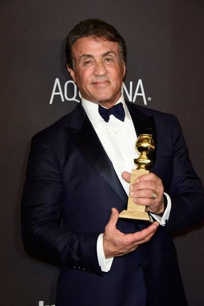 "Golden Globe winner Sylvester Stallone for the motion picture ""Creed"" (Facebook photo)"