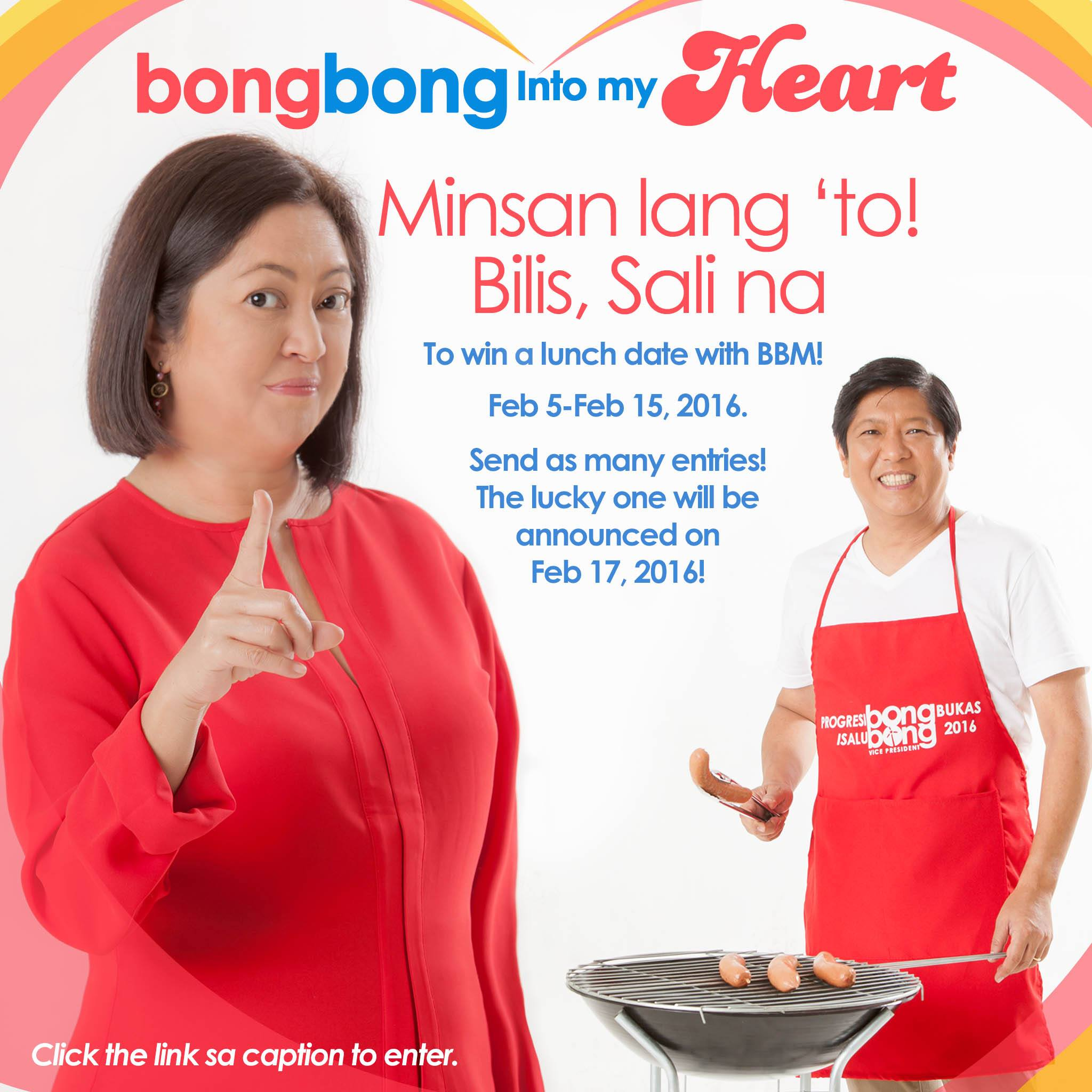 Presidential candidate Sen. Bongbong Marcos holds a contest where one wins a dinner date with the senator (Photo from the official Facebook page of Sen. Marcos).