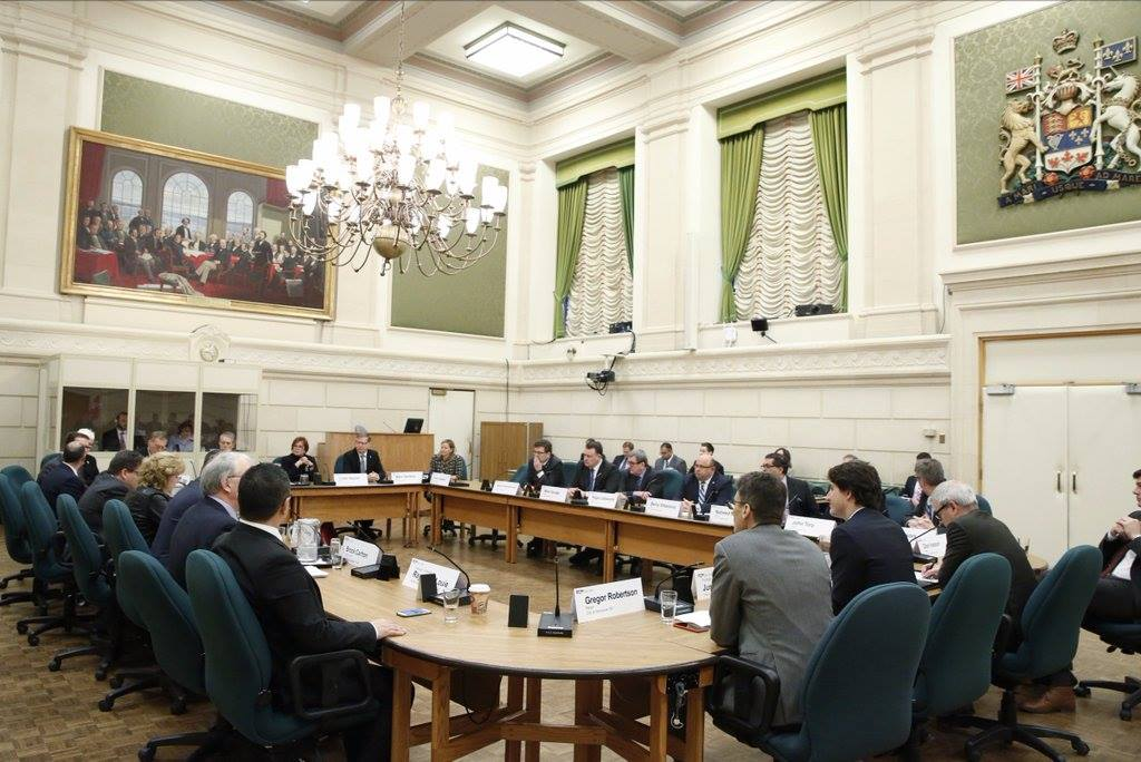 Prime Minister Justin Trudeau meets with Big City Mayors. (Photo courtesy of PM Trudeau's official Facebook page)
