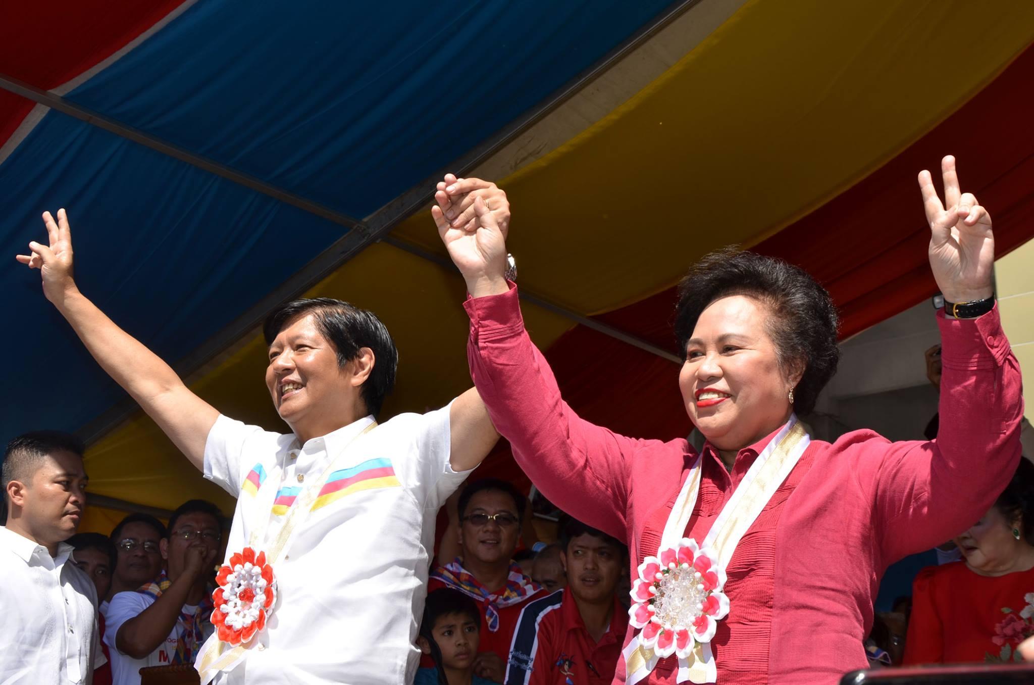 Vice-presidential candidate Sen. Bongbong Marcos (left) and Presidential candidate Sen. Miriam Defensor-Santiago, (Photo courtesy of Sen, Santiago's official Facebook page)