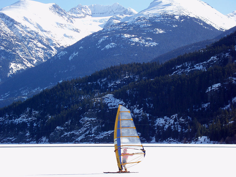 Ice sailing in Whistler, one of the various tourist activities in the province. (Photo by Thomas Quine/Flickr)
