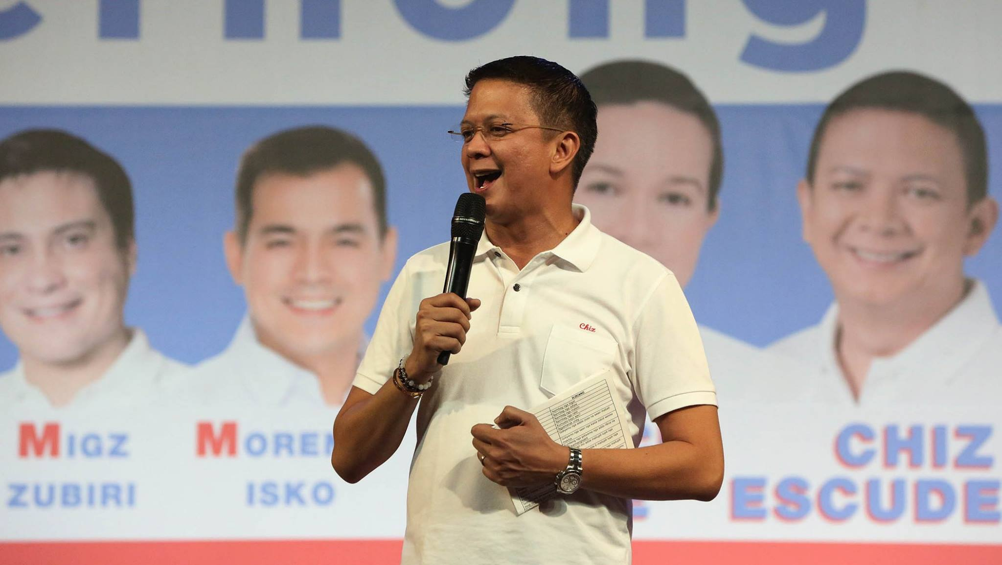 "Vice-presidential candidate Sen. Francis ""Chiz"" Escudero challenges election candidates to waive waive their rights under the bank secrecy law. (Photo courtesy of Francis Escudero's official Facebook page)"