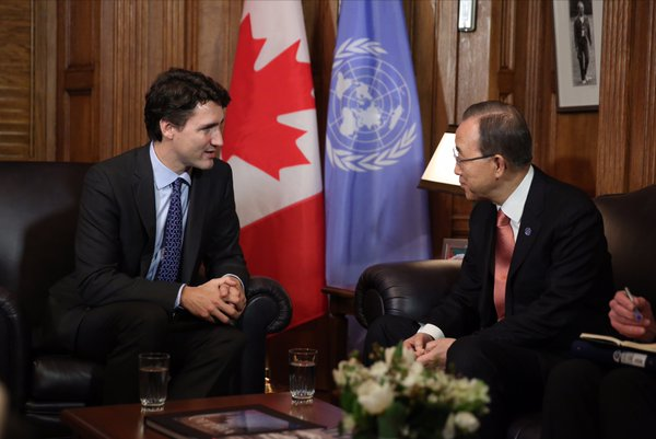 Prime Minister Justin Trudeau meeting with UN Secretary-General Ban Ki-Moon  (Photo from Trudeau's official Twitter account)
